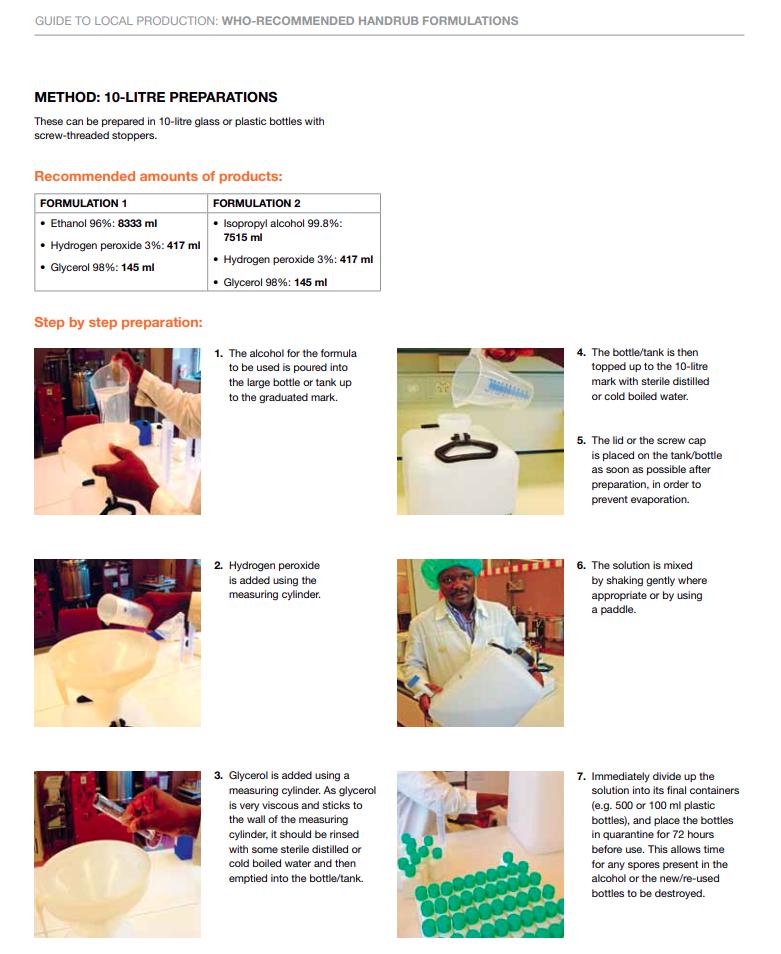 Ricetta OMS ufficiale per il disinfettante fatto in casa